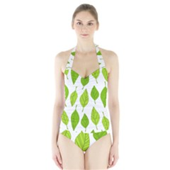 Spring Pattern Halter Swimsuit