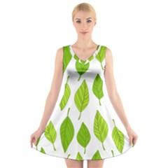 Spring Pattern V Neck Sleeveless Skater Dress
