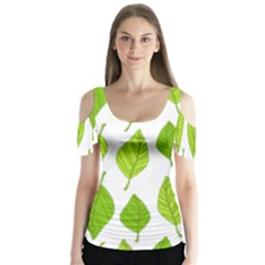 Spring Pattern Butterfly Sleeve Cutout Tee