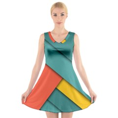 Color Schemes Material Design Wallpaper V Neck Sleeveless Skater Dress