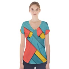 Color Schemes Material Design Wallpaper Short Sleeve Front Detail Top