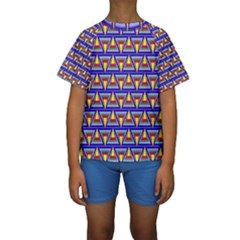 Seamless Prismatic Pythagorean Pattern Kids  Short Sleeve Swimwear