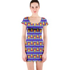 Seamless Prismatic Pythagorean Pattern Short Sleeve Bodycon Dress