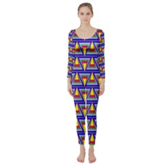 Seamless Prismatic Pythagorean Pattern Long Sleeve Catsuit