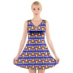 Seamless Prismatic Pythagorean Pattern V Neck Sleeveless Skater Dress