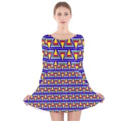 Seamless Prismatic Pythagorean Pattern Long Sleeve Velvet Skater Dress