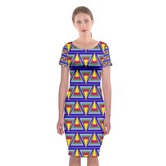 Seamless Prismatic Pythagorean Pattern Classic Short Sleeve Midi Dress