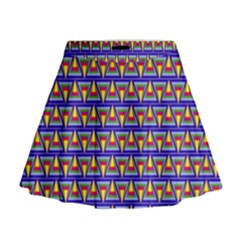 Seamless Prismatic Pythagorean Pattern Mini Flare Skirt