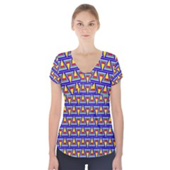 Seamless Prismatic Pythagorean Pattern Short Sleeve Front Detail Top