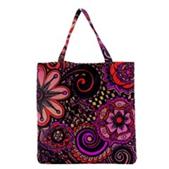 Sunset Floral Grocery Tote Bag
