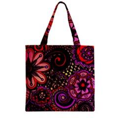 Sunset Floral Zipper Grocery Tote Bag