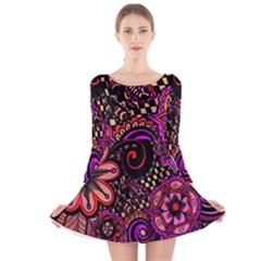 Sunset Floral Long Sleeve Velvet Skater Dress