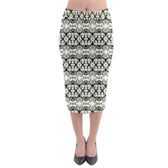 Abstract Camouflage Midi Pencil Skirt