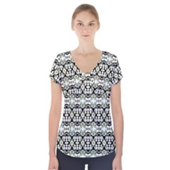 Abstract Camouflage Short Sleeve Front Detail Top