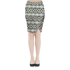 Abstract Camouflage Midi Wrap Pencil Skirt