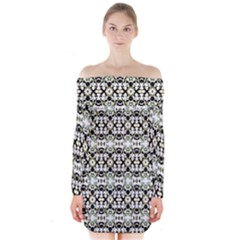 Abstract Camouflage Long Sleeve Off Shoulder Dress