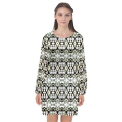 Abstract Camouflage Long Sleeve Chiffon Shift Dress