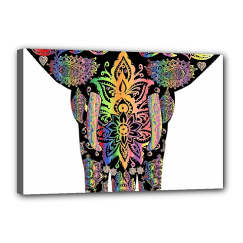 Prismatic Floral Pattern Elephant Canvas 18  X 12