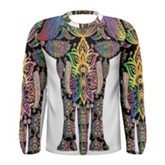 Prismatic Floral Pattern Elephant Men s Long Sleeve Tee