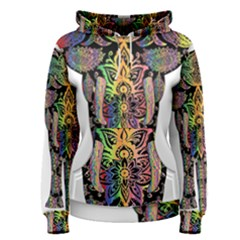 Prismatic Floral Pattern Elephant Women s Pullover Hoodie