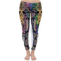 Prismatic Floral Pattern Elephant Classic Winter Leggings
