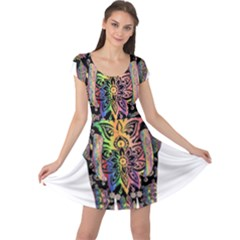 Prismatic Floral Pattern Elephant Cap Sleeve Dresses
