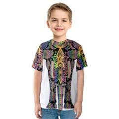 Prismatic Floral Pattern Elephant Kids  Sport Mesh Tee