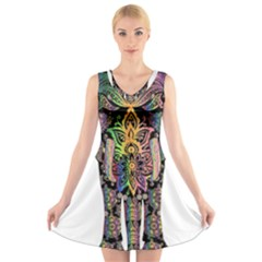 Prismatic Floral Pattern Elephant V-Neck Sleeveless Skater Dress