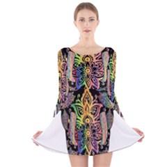 Prismatic Floral Pattern Elephant Long Sleeve Velvet Skater Dress