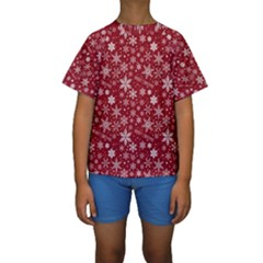 Merry Christmas Pattern Kids  Short Sleeve Swimwear