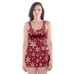 Merry Christmas Pattern Skater Dress Swimsuit