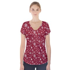 Merry Christmas Pattern Short Sleeve Front Detail Top