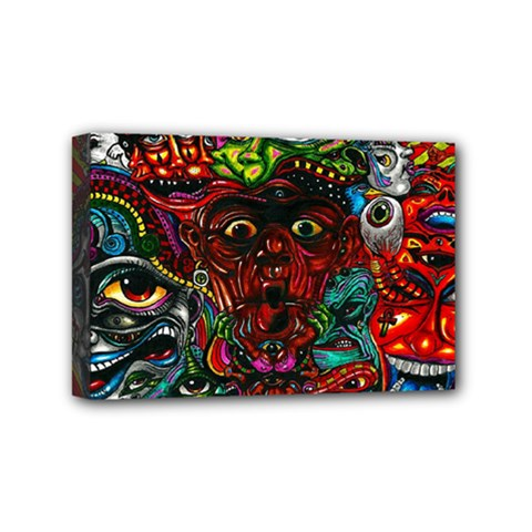 Abstract Psychedelic Face Nightmare Eyes Font Horror Fantasy Artwork Mini Canvas 6  X 4