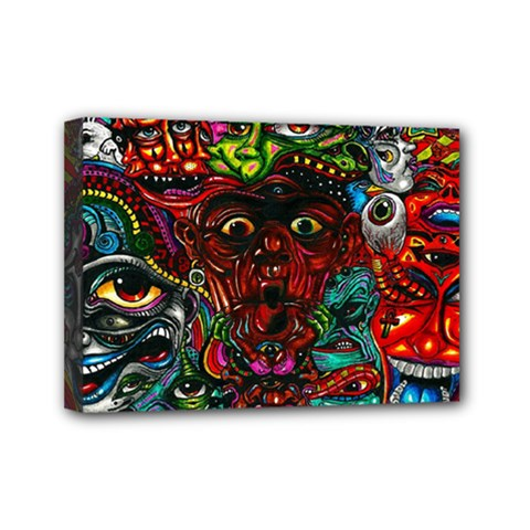 Abstract Psychedelic Face Nightmare Eyes Font Horror Fantasy Artwork Mini Canvas 7  x 5