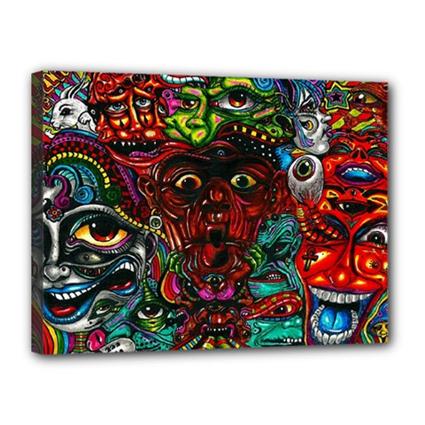 Abstract Psychedelic Face Nightmare Eyes Font Horror Fantasy Artwork Canvas 16  x 12