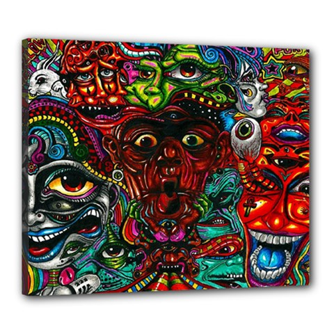 Abstract Psychedelic Face Nightmare Eyes Font Horror Fantasy Artwork Canvas 24  x 20
