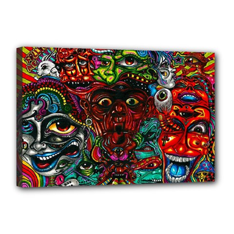 Abstract Psychedelic Face Nightmare Eyes Font Horror Fantasy Artwork Canvas 18  X 12