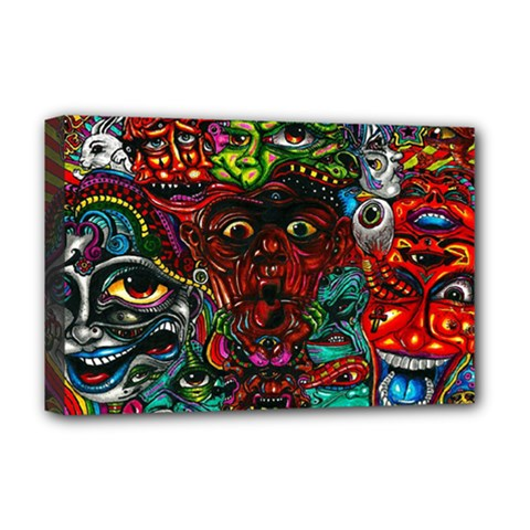 Abstract Psychedelic Face Nightmare Eyes Font Horror Fantasy Artwork Deluxe Canvas 18  X 12