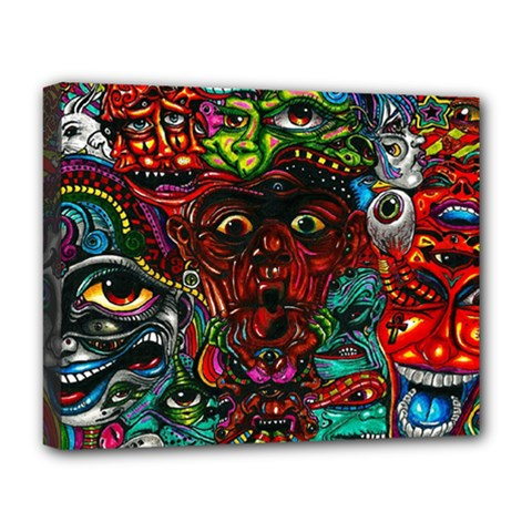 Abstract Psychedelic Face Nightmare Eyes Font Horror Fantasy Artwork Deluxe Canvas 20  X 16
