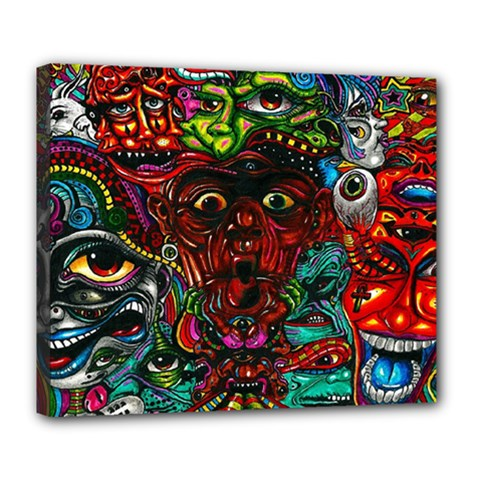 Abstract Psychedelic Face Nightmare Eyes Font Horror Fantasy Artwork Deluxe Canvas 24  x 20