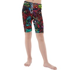Abstract Psychedelic Face Nightmare Eyes Font Horror Fantasy Artwork Kids  Mid Length Swim Shorts
