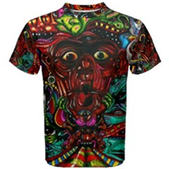 Abstract Psychedelic Face Nightmare Eyes Font Horror Fantasy Artwork Men s Cotton Tee