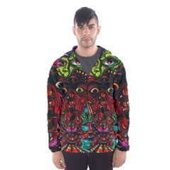 Abstract Psychedelic Face Nightmare Eyes Font Horror Fantasy Artwork Hooded Wind Breaker (Men)