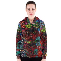 Abstract Psychedelic Face Nightmare Eyes Font Horror Fantasy Artwork Women s Zipper Hoodie