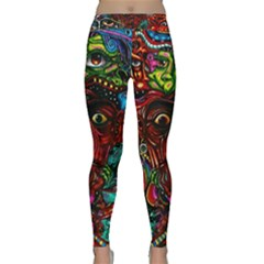 Abstract Psychedelic Face Nightmare Eyes Font Horror Fantasy Artwork Classic Yoga Leggings