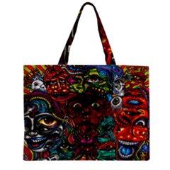 Abstract Psychedelic Face Nightmare Eyes Font Horror Fantasy Artwork Zipper Mini Tote Bag