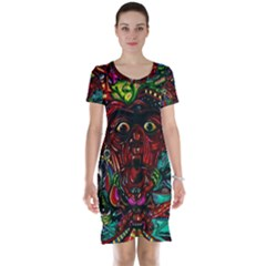 Abstract Psychedelic Face Nightmare Eyes Font Horror Fantasy Artwork Short Sleeve Nightdress