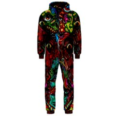 Abstract Psychedelic Face Nightmare Eyes Font Horror Fantasy Artwork Hooded Jumpsuit (men)