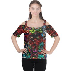 Abstract Psychedelic Face Nightmare Eyes Font Horror Fantasy Artwork Women s Cutout Shoulder Tee