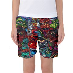Abstract Psychedelic Face Nightmare Eyes Font Horror Fantasy Artwork Women s Basketball Shorts